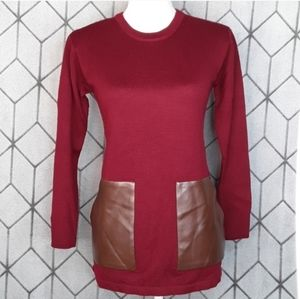 J. CREW Merino Wool Sweater w/ Leather Pockets XXS